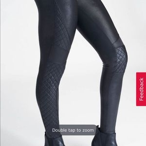 Size MD faux leather quilted leggings. NWT